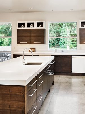 granite, quartz, kitchen, counter, countertop, slab, finished, cabinets, cabinetry, island, modern, white, custom, marble, plumbing, fixture, sink, hardware, residential, residence, house, home, interior, building, build, materials, outlet, construction, renovation, renovate, new