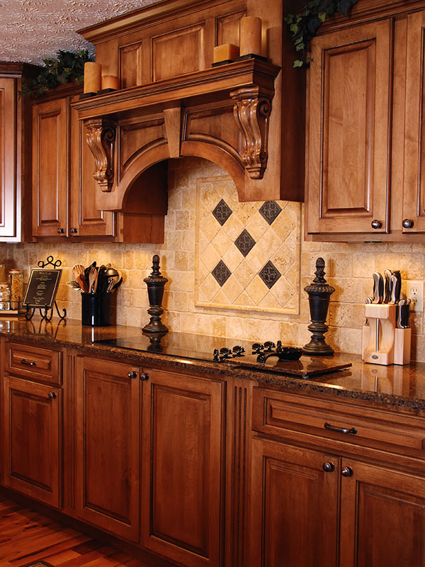 kitchen, cabinets, cabinetry, custom, special, order, set, tall, ceiling height, island, wood, solid, upscale, dark, light, brown, doors, panels, raised, shaker, granite, counter, countertops, finished, trim, accent, tile, hardwood, flooring, appliances, oven, hood, lighting, sink, fixtures, plumbing, corbels, backsplash, hardware, quality, residential, residence, house, home, interior, building, build, materials, outlet, construction, renovation, renovate, new